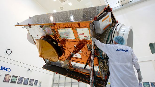 satellite being assembled