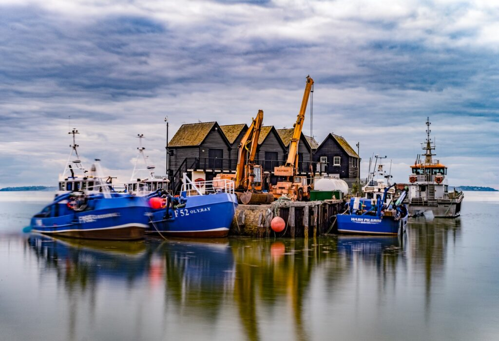 Fishing boats in arbour at Whitstable, United Kingdom.
