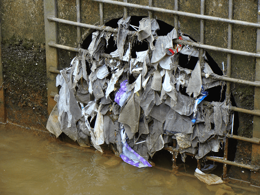 A combined sewer overflow clogged with baby wipes